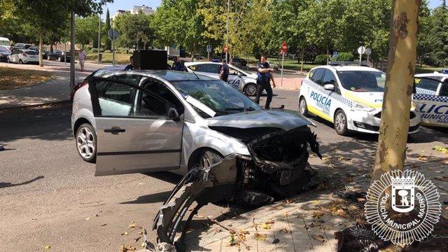 Imagen del vehículo tras la persecución policial