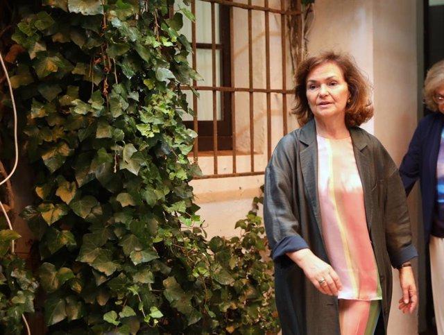 La vicepresidenta del Gobierno en funciones, Carmen Calvo, en Carmona (Sevilla).