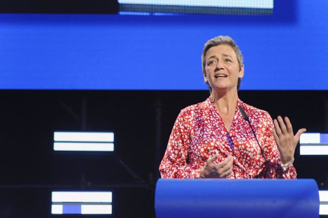 27 May 2019, Belgium, Brussels: European Union Competition Commissioner and candidate for the president of the European Commission, Margrethe Vestager, speaks during a press conference after the results of the European elections. Photo: Nicolas Landemar
