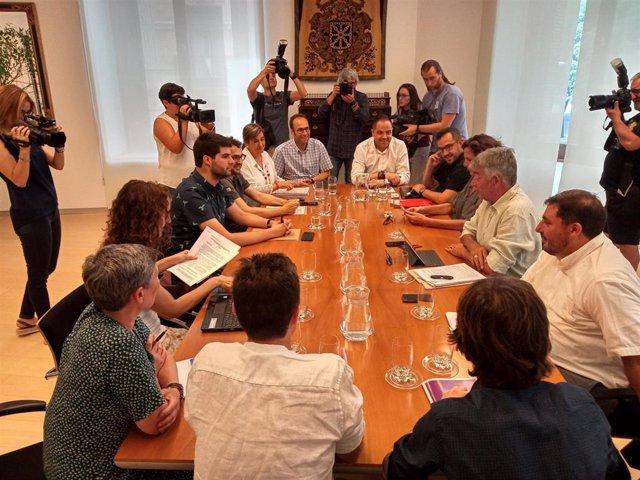 Reunión de PSN, Geroa Bai, Podemos e Izquierda-Ezkerra para negociar acuerdo de Gobierno en Navarra.