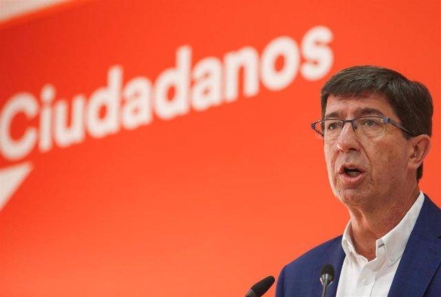 El líder andaluz de Cs y vicepresidente de la Junta de Andalucía, Juan Marín, en rueda de prensa