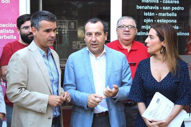 José Bernal, José Luis Ruiz Espejo y Beatriz Rubiño en rueda de prensa en Málaga