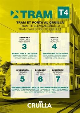Tram anuncia els horaris del tramvia durant el Festival Crulla