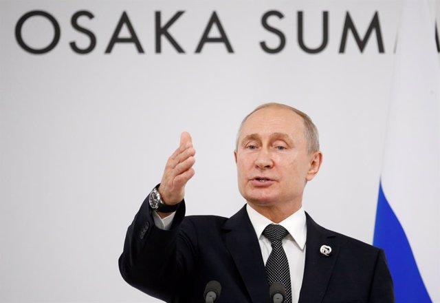 El presidente de Rusia, Vladimir Putin, en la cumbre del G20 en Osaka