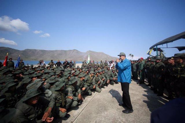 Nicolas Maduro, durante su visita a la base militar de Turiamo