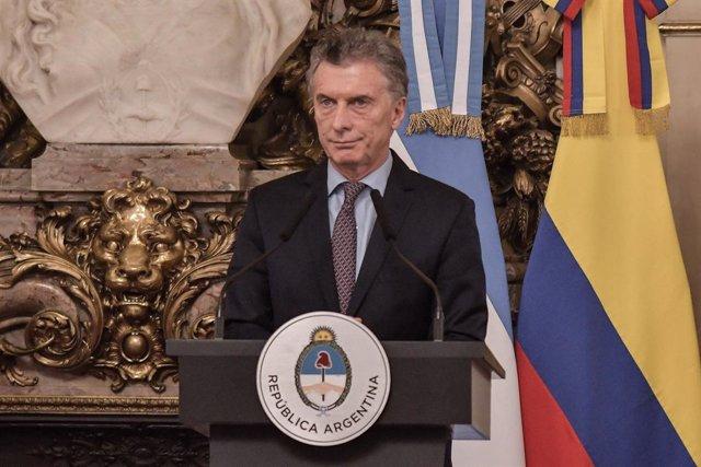 El presidente de Argentina, Mauricio Macri, durante una conferencia de prensa