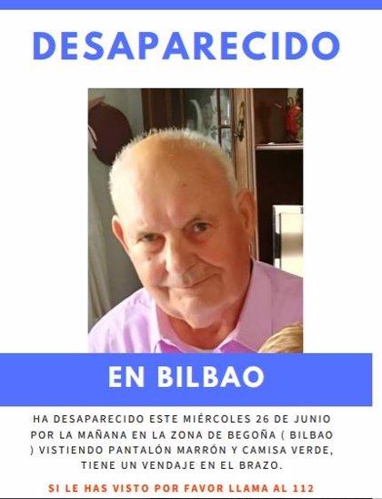 Intentan localizar a vecino de Bilbao de 85 años desaparecido el pasado 26 de junio
