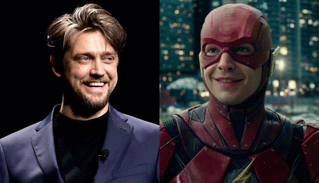 Andy Muschietti y Ezra Miller como The Flash