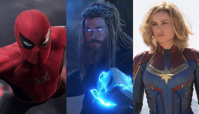 Imágenes de Spider-Man: Lejos de casa, Thor en Vengadores: Endgame y Carol Danvers en Capitana Marvel