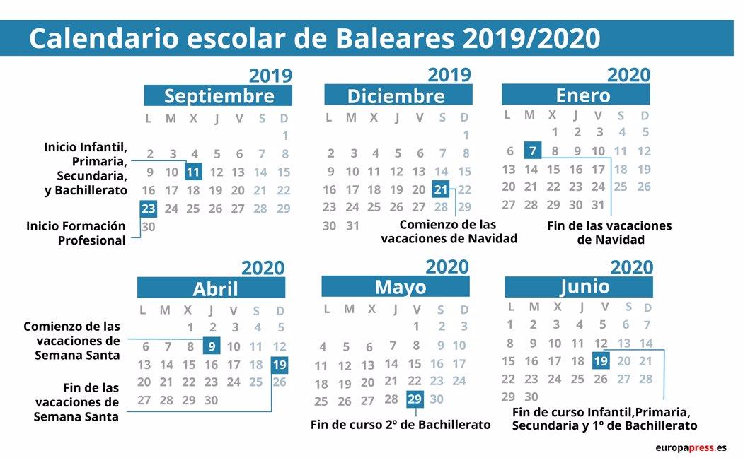 Calendario Verano 2020.Calendario Escolar En Baleares 2019 2020 Navidad Semana Santa Y Vacaciones De Verano