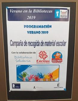 Campaña de recogida de material escolar de la Biblioteca de Castilla-La Mancha, en colaboración con Cáritas