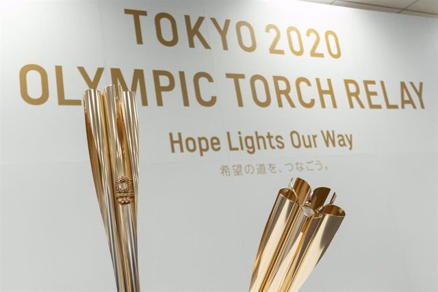 20 March 2019, Japan, Tokyo: Tokyo 2020 Olympic Torch, pictured during its unveiling ceremony. Photo: Rodrigo Reyes Marin/ZUMA Wire/dpa
