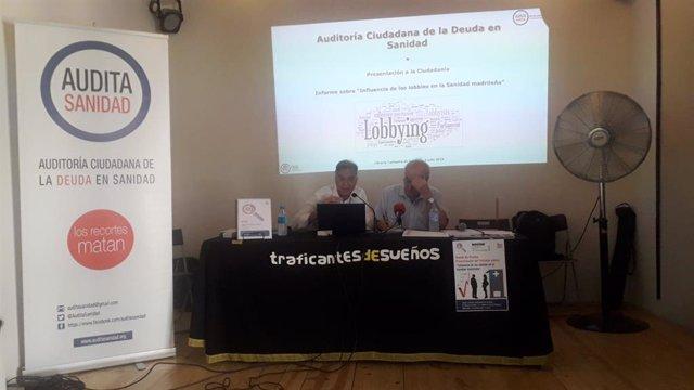 Audita Sanidad ofrece una rueda de prensa para presentar el informe sobre 'Influencia de los lobbies en la Sanidad madrileña'