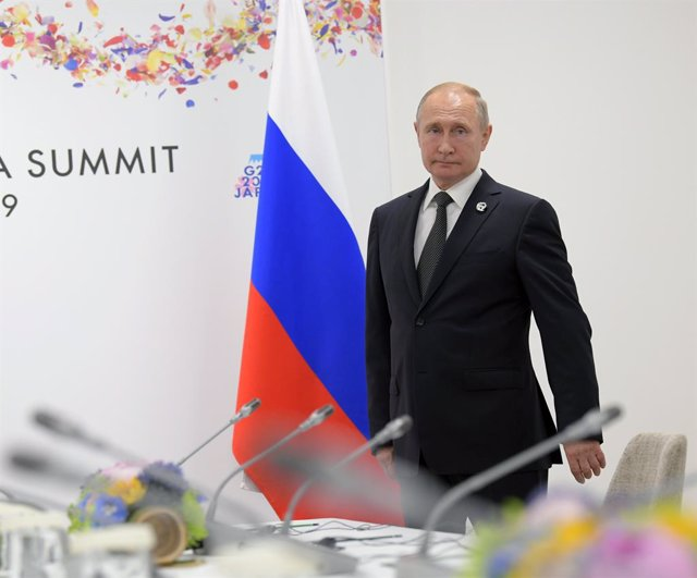 June 29, 2019 - Moscow, Russia: Russian President Vladimir Putin work trip to Japan. XIV G20 Leaders Summit at the INTEX Osaka International Exhibition Center. Russian President Vladimir Putin before meeting with Turkish President Recep Tayyip Erdogan dur