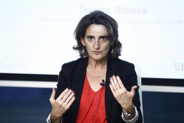 La ministra de Transición Ecológica en funciones, Teresa Ribera, interviene en la jornada 'Stop pérdida de biodiversidad' organizada en la Sede Abertis.