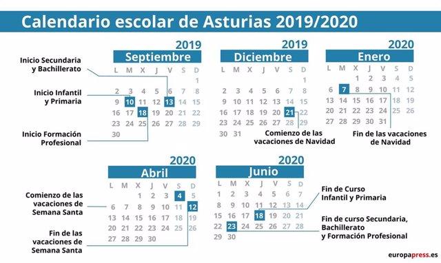 Calendario Escolar Asturias.Calendario Escolar En Asturias 2019 2020 Navidad Semana Santa Y Vacaciones De Verano