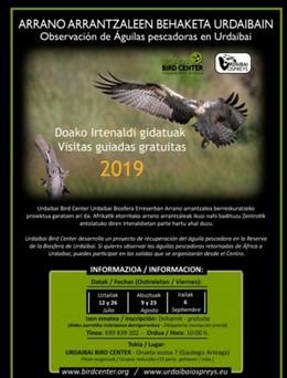Urdaibai Bird Center ofrece este verano cinco salidas gratuitas para observar águilas pescadoras que retornan de África.
