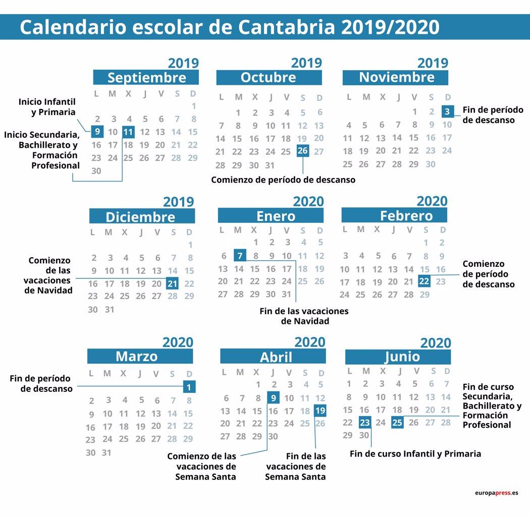 Calendario Escolar 2020 Andalucia.Calendario Escolar 2019 2020 Por Comunidades Navidad Semana Santa