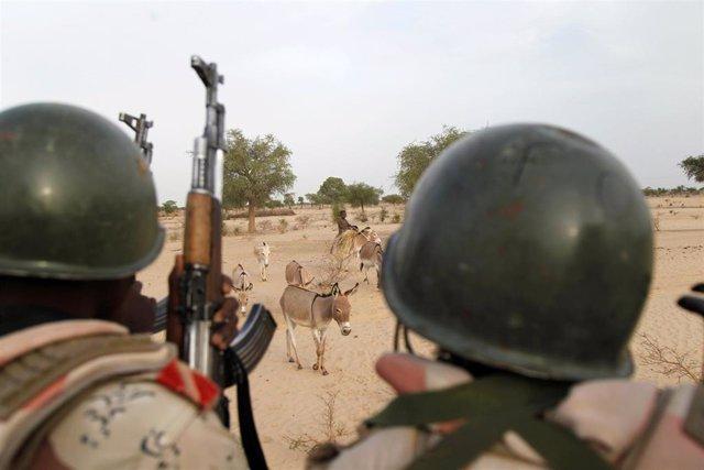 Soldado nigerinos patrullan cerca de la frontera con Nigeria