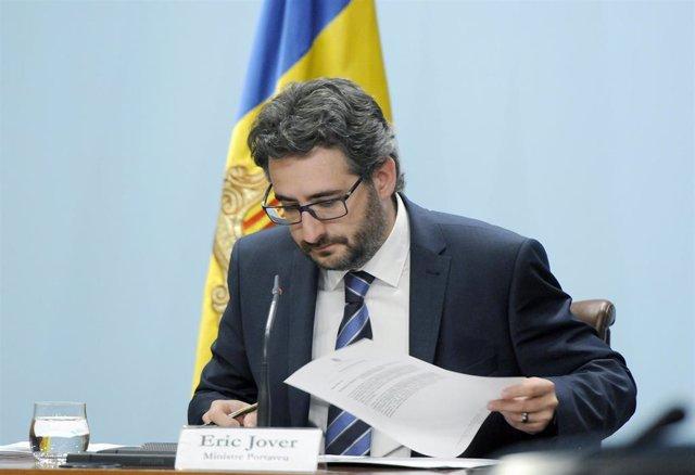 El ministro portavoz, Èric Jover, en rueda de prensa posterior al Consejo de Ministros y donde ha valorado el informe del GRETA.