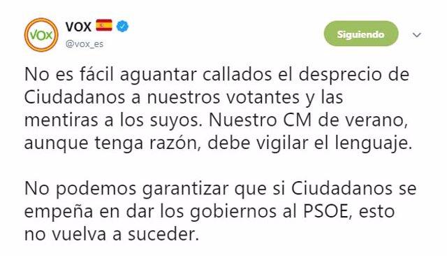 Tuit de Vox contra Ciudadanos