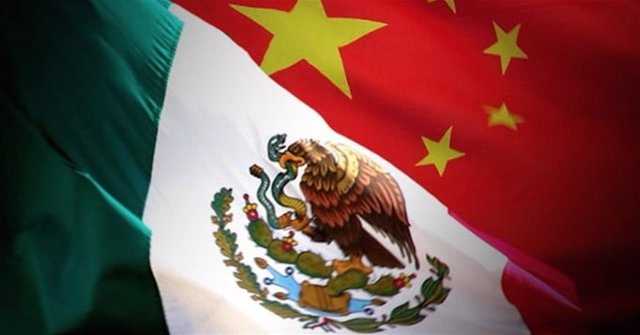 Banderas de México y China