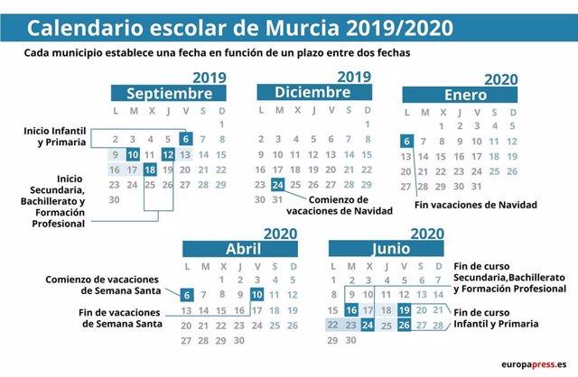 Calendario Escolar Murcia 2019.Calendario Escolar En Murcia 2019 2020 Navidad Semana Santa Y Vacaciones De Verano