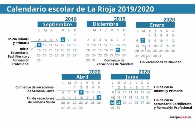 Calendario Verano 2020.Calendario Escolar En La Rioja 2019 2020 Navidad Semana Santa Y Vacaciones De Verano
