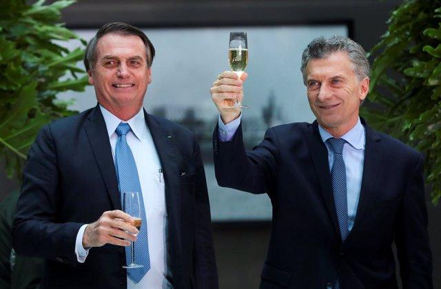 Los presidentes de Brasil, Jair Bolsonaro, y Argentina, Mauricio Macri (Imagen de archivo)