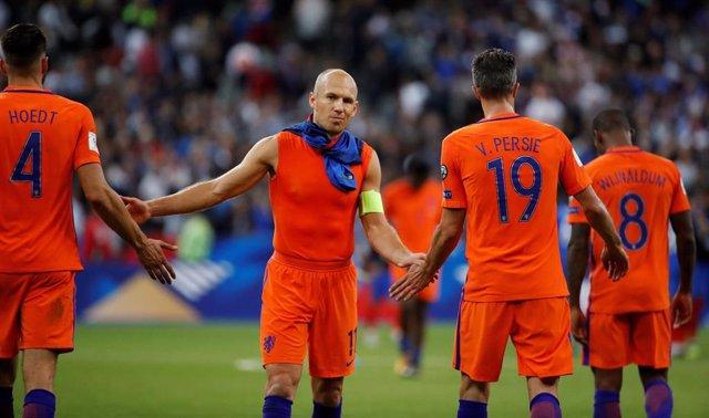 Arjen Robben con la selección de Holanda
