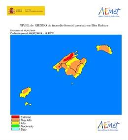 Baleares se encuentra en riesgo de incendio extremo o muy alto.