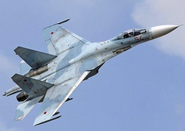 Un caza Sujói de la Fuerza Aérea de Rusia