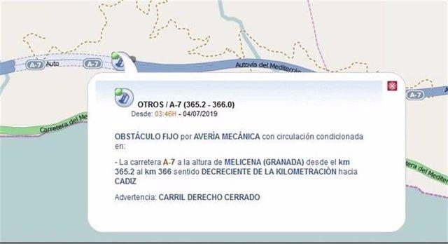 Localización del corte de la A-7 en Sorvilán