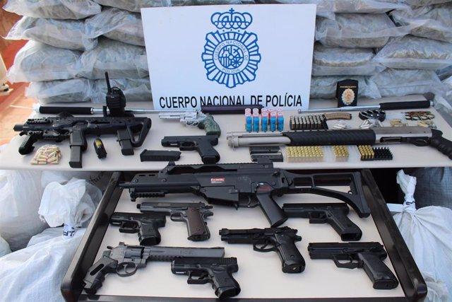 Armas intervenidas en la operación 'Corso' contra 'Los Antones' en Almería