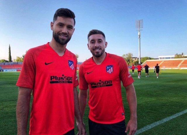 Héctor Herrera y Felipe en el entrenamiento del Atlético