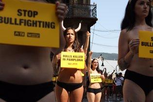 Protesta contra la tauromaquia en Pamplona