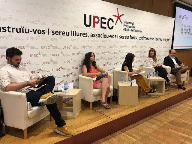 Debate de la Upec entre G.Rufián (ERC); M.Sirvent (CUP); J.Albiach (CatECP) y M.Iceta (PSC)