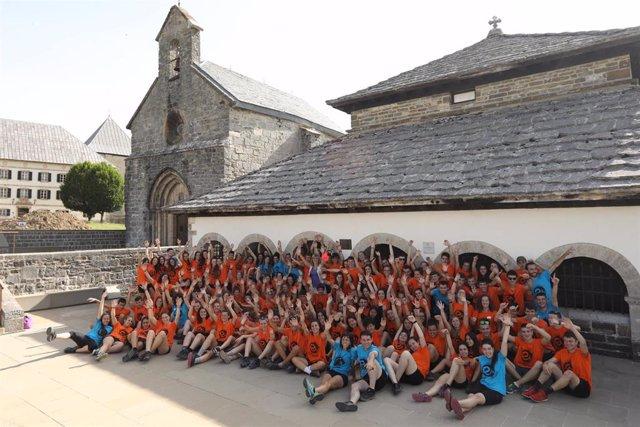 Participantes en la expedición EuskarAbentura 2019 en Roncesvalles