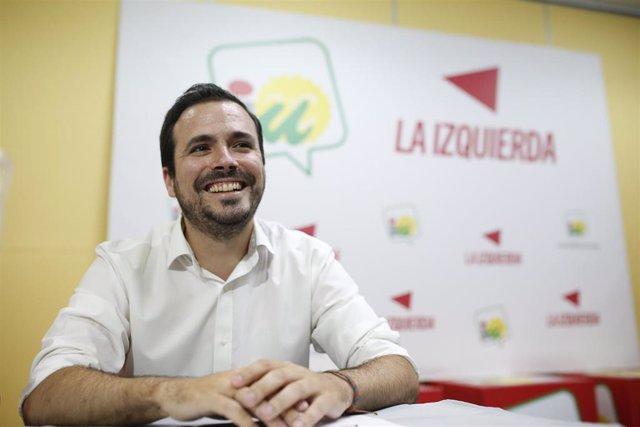 El coordinador federal de IU, Alberto Garzón, este sábado en Sevilla
