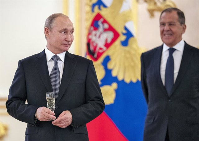 July 3, 2019 - Moscow, Russia: The ceremony of presentation of credentials by ambassadors of foreign countries in the Alexander Hall of the Grand Kremlin Palace. Russian President Vladimir Putin (left) and Russian Foreign Minister Sergei Lavrov (right)
