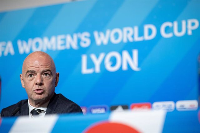 05 July 2019, France, Lyon: FIFA President Gianni Infantino speaks during a press conference ahead of Sunday's FIFA Women's World Cup final soccer match between USA and Netherlands. Photo: Sebastian Gollnow/dpa