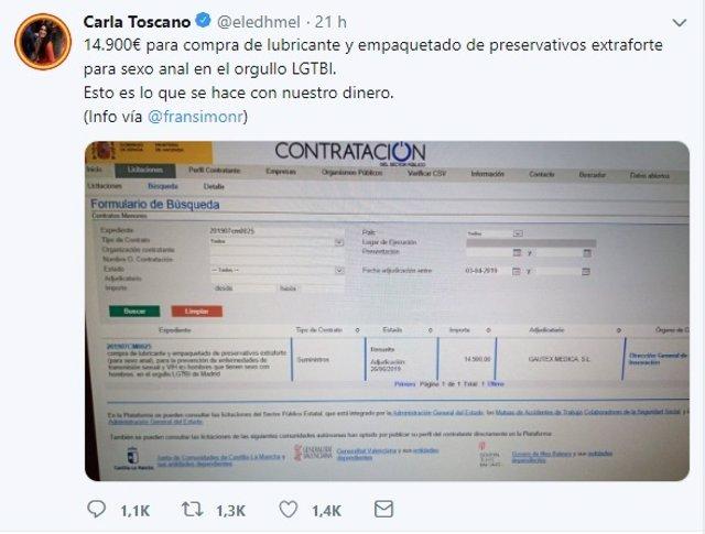 Publicación en Twitter de la diputada de Vox Carla Toscano sobre una licitación para el Orgullo