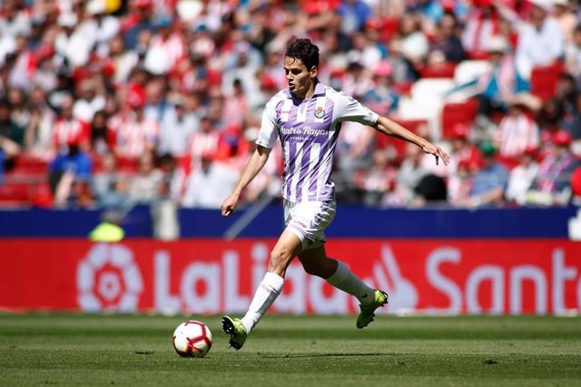 Enes Unal, forward of Real Valladolid, during the spanish league, La Liga, football match played between Atletico de Madrid and Real Valladolid at Wanda Metropolitano Stadium in Madrid, Spain, on April 27, 2019.