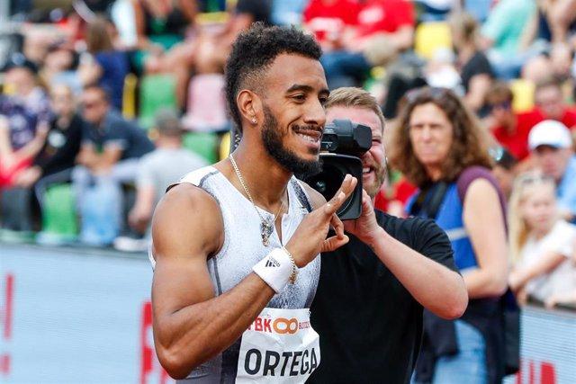 HENGELO , 09-06-2019 , Fanny Blankers Koen Stadion , Athletics. Orlando Ortega of Spain (m) wins the men's 110m hurdles final during the FBK games 2019