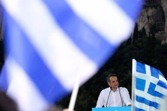 Kyriakos Mitsotakis, candidato de Nueva Democracia, en un acto de campaña en Atenas