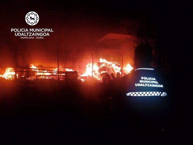 Incendio en Echavacoiz, Pamplona.