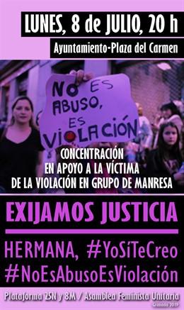 Concentración en Granada en apoyo a la vícima de Manresa.