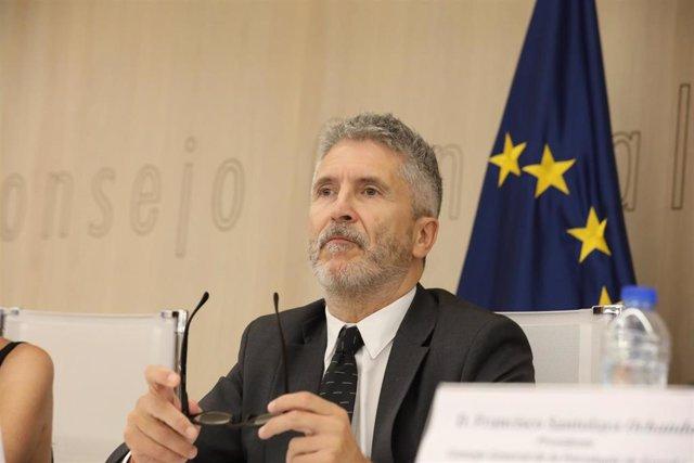 El ministro del Interior en fundiones, Fernando Grande-Marlaska, durante el acto de presentación de la 'Guía para una atención de calidad a víctimas del terrorismo'.