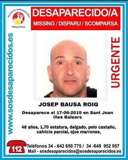 Cartel para solicitar colaboración ciudadana en la búsqueda de Josep Bausa Roig