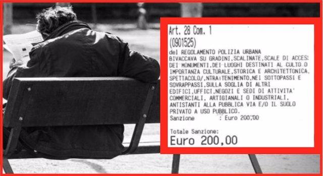 Multa de 200 euros impuesta a un indigente por dormir en la calle en Génova, Italia